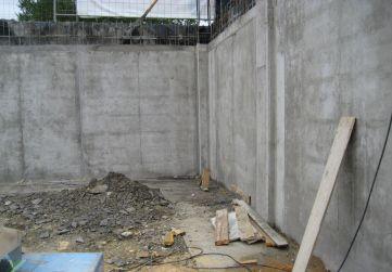 Muro ejecutado por bataches