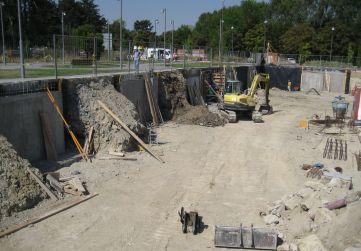 Excavacion entre tramos hormigonados