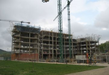 Vista general obra alzado a urbanización interior